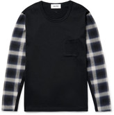 Aloye Panelled Checked Flannel and Cotton-Jersey T-Shirt