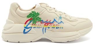 Gucci Rhyton Logo-print Leather Trainers - Beige Multi