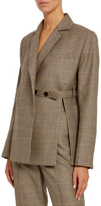 Rokh Wool Double-Breasted Tie-Waist Blazer