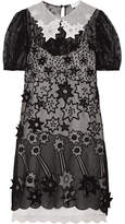 Chloé Appliquéd Embroidered Cotton-blend Voile Mini Dress - Black