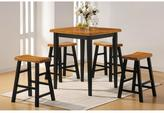 Acme Gaucho 5-Piece Oak and Black Bar Table Set