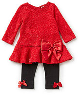 Rare Editions 3-24 Months Bow-Accented Sweater-Knit Dress & Legging Christmas Set