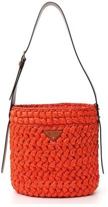Prada Woven Logo Bucket Bag