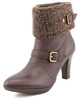 Anne Klein AK Anne Klein Ak Andre Women Round Toe Leather Brown Ankle Boot.
