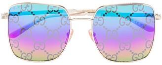 Gucci GG-monogram square-frame sunglasses
