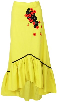 Maraina London Mallorie Cotton Midi Skirt With Ruffle Hem & Handmade Embroidery- In Yellow