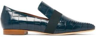 Malone Souliers X Roksanda Chiara Crocodile-effect Leather Loafers - Womens - Dark Green