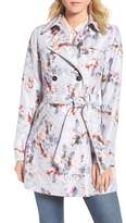 GUESS Double Breasted Floral Trench Coat