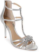 Badgley Mischka Silver Hazel II Embellished T-Strap Sandals