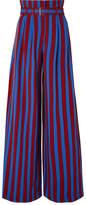 Maison Margiela Belted Striped Crepe Wide-leg Pants - Storm blue