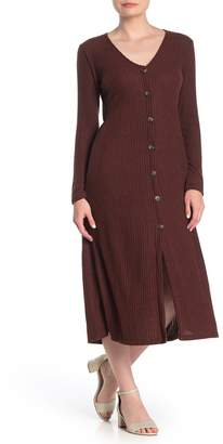 Lush Brushed Rib Knit Button Midi Dress
