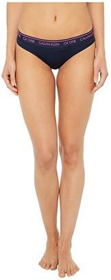 Calvin Klein Underwear One Cotton Average + Full Figure Thong (Black) Women's Underwear