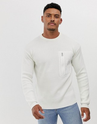 BOSS Kamistro crew neck ribbed knitted jumper in cream