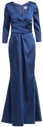 Theia Three-Quarter Sleeve Mermaid Gown