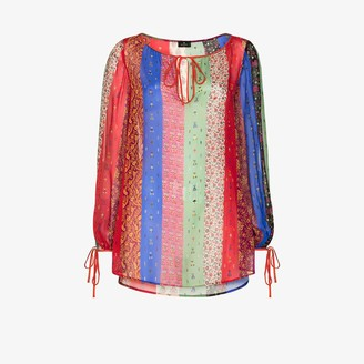 Etro Contrast Striped Silk Blouse