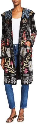 Johnny Was Rykew Floral Embroidered Hooded Duster