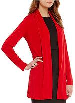 Calvin Klein Matte Jersey Shawl Collar Open Front Long Jacket