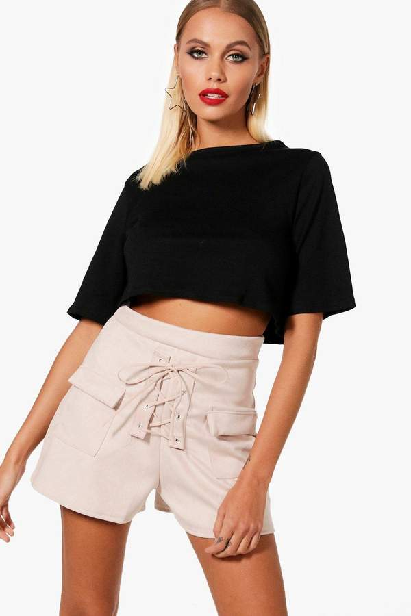 boohoo Mavis Lace Up Shorts & Tee Co-ord Set