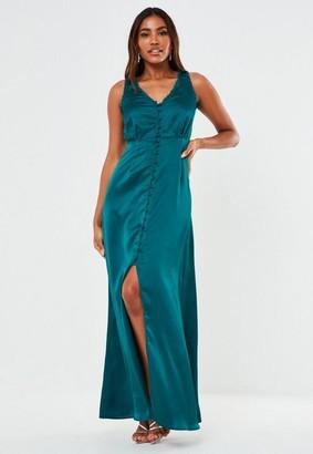 Missguided Satin Sleeveless Maxi Bridesmaid Dress