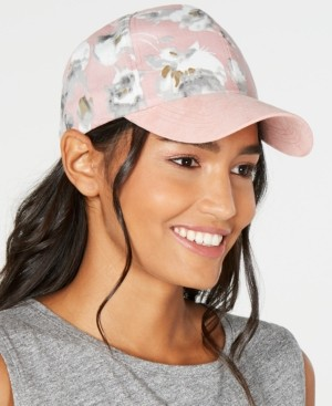 INC International Concepts Inc Floral Suede Baseball Cap, Created for Macy's