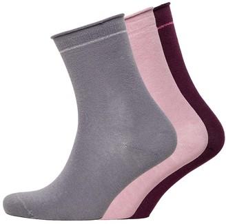 Jaeger Womens Three Pack Roll Top Socks Grey Pink