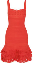 Herve Leger Ruffled Bandage Mini Dress - Red
