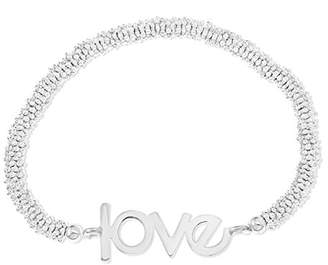 Ornami Silver Plated Base Metal Silver Colour Bead Stretch Bracelet with 'Love' Message of 19cm