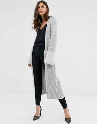Fashion Union longline cardigan with contrast sleeves-Grey