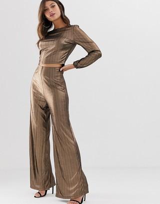 Paper Dolls metallic sequin flare trousers-Copper