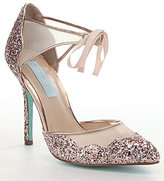 Betsey Johnson Blue by Stela Glitter Ankle-Strap Pointed-Toe Pumps