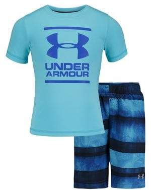 Under Armour Little Boy's Biogen 2-Piece Tee & Striped Volley Shorts Set
