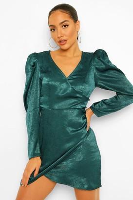boohoo Satin Puff Sleeve Draped Mini Dress
