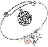 Unwritten Happiness Charm and Cherry Quartz (8mm) Adjustable Bangle Bracelet in Stainless Steel