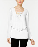 NY Collection Lace-Up Layered-Look Blouse