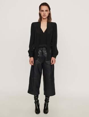 Maje Leather bermuda-like pants