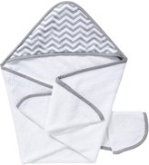 American Baby Company 100% Organic Cotton Terry Hooded Towel & Washcloth Set - Gray Zigzag