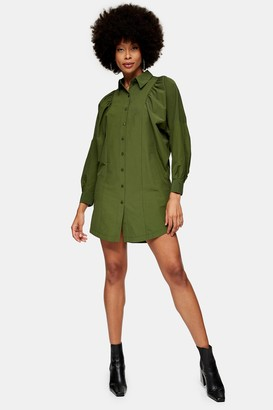 Topshop Womens Khaki Extreme Sleeve Shirt Dress - Khaki