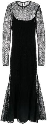 Alexander McQueen Crochet Knit Flared Evening Dress