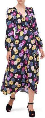 Kate Spade Winter Garden Floral Midi Wrap Dress
