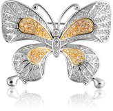 Bling Jewelry Vintage Style Two Tone Pave CZ Butterfly Brooch Pin Rhodium Plated Gold Plated