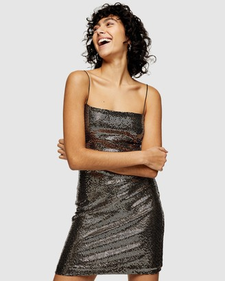 Topshop Women's Silver Mini Dresses - Sequin Bodycon Mini Dress - Size 8 at The Iconic