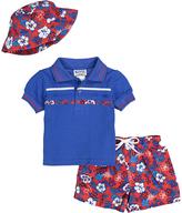 Children's Apparel Network Royal Blue Floral Polo & Shorts Set - Infant