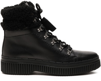 Tod's Shearling-trimmed Leather Ankle Boots