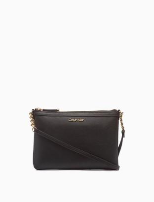 Calvin Klein Saffiano Leather Shoulder Zip Bag