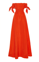 Lela Rose Off The Shoulder Bow Sleeve Gown