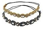 yueton Pack of 2 Handmade Crystal Rhinestone Beads Elastic Headband Hair Band Women Hair Accessories (Navy blue + Gold)