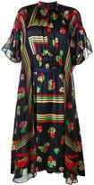 Sacai floral stripe shirt dress - women - Polyester/Cupro - 1