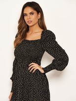 AX Paris Spotty Sheered Square Neck Dress - Black