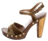 Miu Miu Velvet Stud-Embellished Sandals