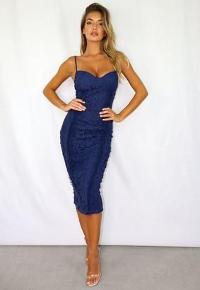 Missguided Lace Mesh Trim Midaxi Dress